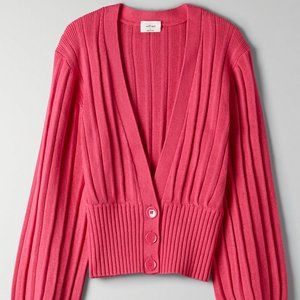 NWT Aritzia plunge front cardigan pink xxs